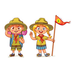 Scout boy and scout girl vector