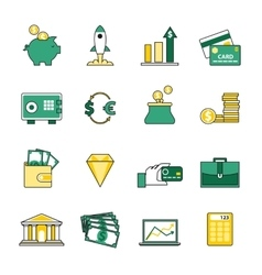 set banking and currency exchange line icons vector image