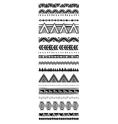 set geometric pattern brushes in tribal ethnic vector image