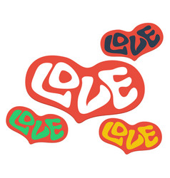 set of heart word love with heart love heart text vector image