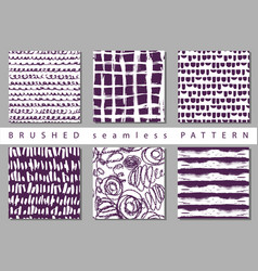 set seamless pattern with brush stripes and vector image