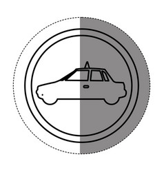 silhouette symbol taxi side car icon vector image