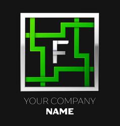 silver letter f logo symbol in the square maze vector image