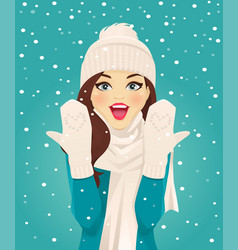 surprised woman in snowfall vector image