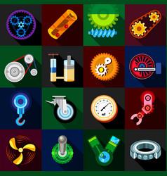 Technical mechanisms icons set flat style vector
