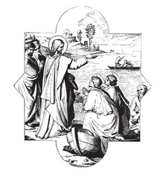The calling of st james and st john is a painting vector