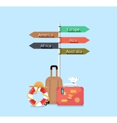 Travel Asia America Europe Africa Australia vector