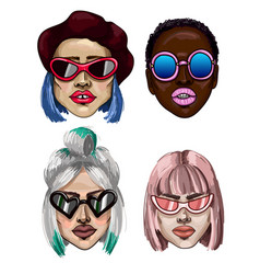 Trendy fashion girls with sunglasses vector