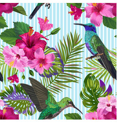 tropical seamless pattern hummingbirds flowers vector image