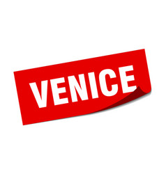 Venice sticker venice red square peeler sign vector