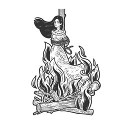witch is burning in flames sketch vector image