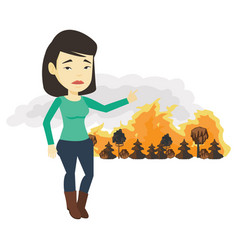 Woman standing on the background of wildfire vector