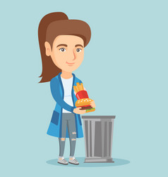 Woman throwing out junk food into the trash can vector