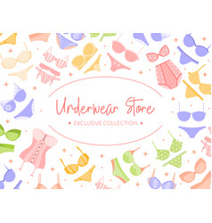 Woman underwear store banner or poster vector