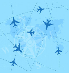 World map with airplanes background vector