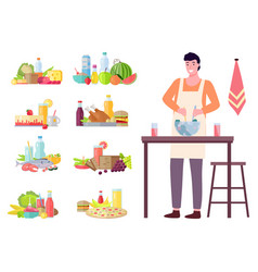 young man cooking salad in kitchen household vector image