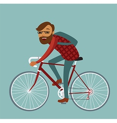 young man hipster riding bike vector image