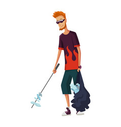 young man with stick and package garbage vector image