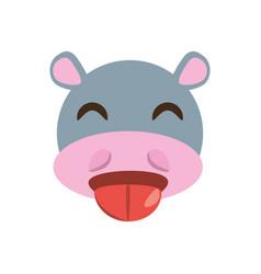 cute face hippo animal cheerful vector image