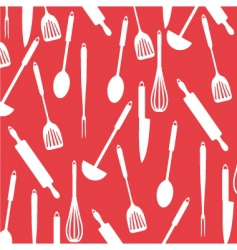 kitchen utensils on red card vector image vector image