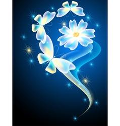 Neon butterflies and flower vector image vector image