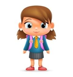 Realistic School Girl Child Cartoon Education vector image vector image