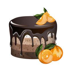 yummy layered cake with oranges vector image vector image