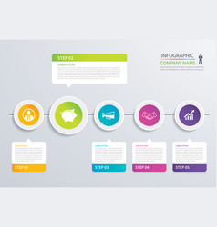 5 step circle timeline infographic options vector image
