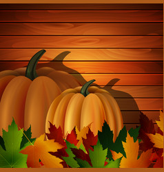 autumn leaves and two pumpkins on wooden texture vector image