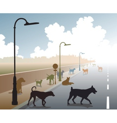 Dog road vector image vector image