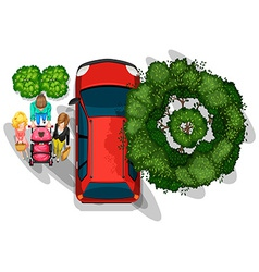 People strolling beside the vehicle vector image