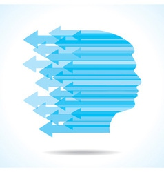 Blue arrow make the face of man vector image vector image