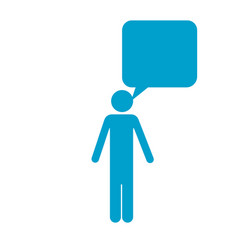 Blue silhouette of pictogram man with bubble vector