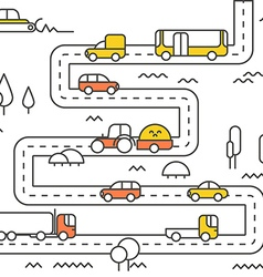Different vehicle on a road vector image vector image