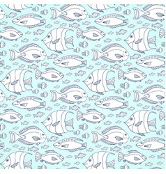 fishes pattern hand drawn sea life seamless vector image vector image