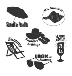 hand drawn summer emblems set vector image vector image