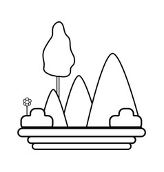 line mountains with plants with flowers and trees vector image vector image