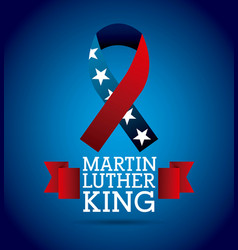 Martin luther king ribbon color flag american vector