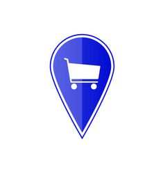 blue map pointer with shopping cart vector image vector image