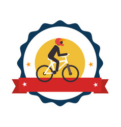 Circular stamp with bicycle and man cyclist vector