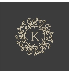 Floral monogram design template with letter K vector image vector image
