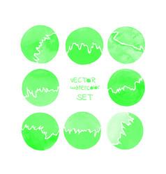 green watercolor circle vector image
