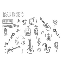 hand drawn music set coloring book page template vector image