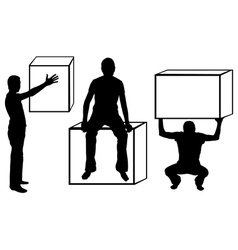 set of silhouettes with boxes vector image vector image