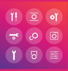 settings configuration development icons set vector image vector image
