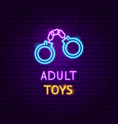 Adult toys neon label vector