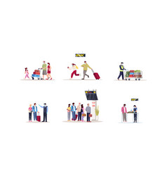 Airport terminal flat set pandemic precaution vector