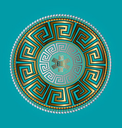 Ancient round ornament gold meander vector
