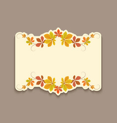 autumn card with cutout border yellow leaves vector image