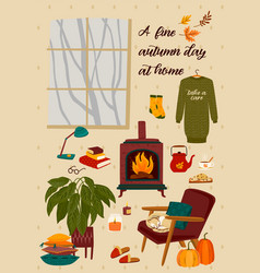 autumn with homely cute things vector image